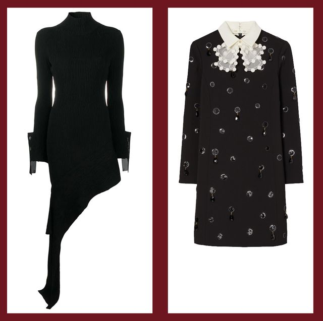 area, off white, tory burch, and proenza schouler black dresses