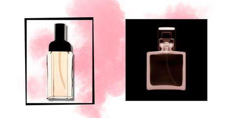 Perfume, Glass bottle, Product, Bottle, Cosmetics, Liquid, Fluid, Spray, Beige,