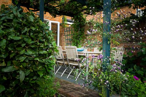 f3k0cn a table and chairs in the shade of a vine covered pergola in an english country garden