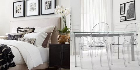 White, Furniture, Room, Interior design, Table, Living room, Black-and-white, Floor, Wall, Curtain,