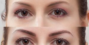 Permanent Makeup eyebrow, before and after