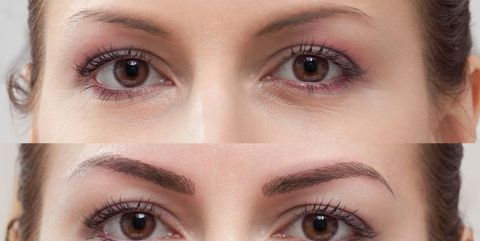 permanent makeup eyebrow before and after
