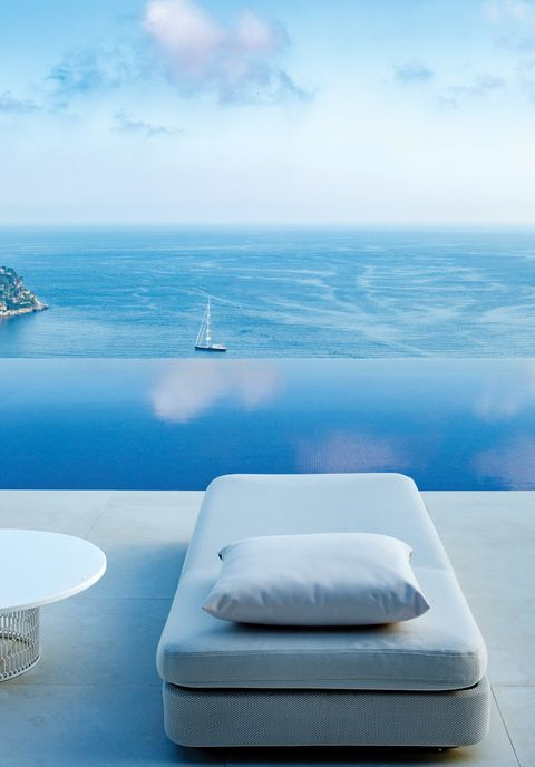 Sky, Blue, Ocean, Bed, Furniture, Sea, Room, Horizon, Bedroom, Cloud,