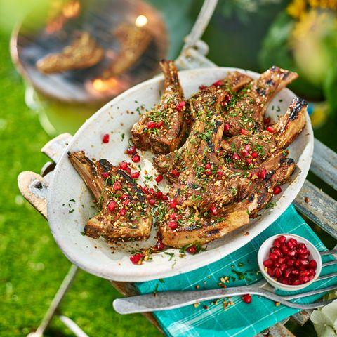 best barbecue recipes pomegranate and dukkah lamb cutlets