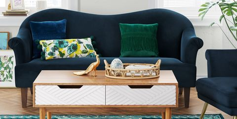 Furniture, Living room, Coffee table, Blue, Room, Table, Green, Couch, Turquoise, Yellow,