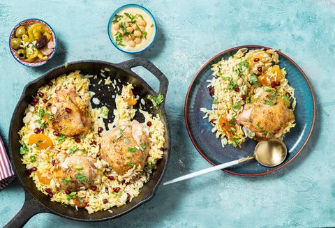 persian style chicken in a skillet
