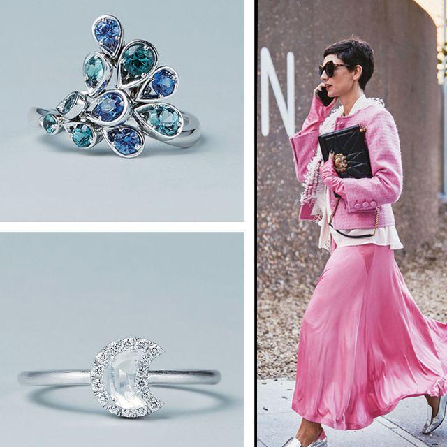 Fashion, Pink, Jewellery, Fashion accessory, Ear, Body jewelry, Dress, Fashion design, Diamond, Fashion model,