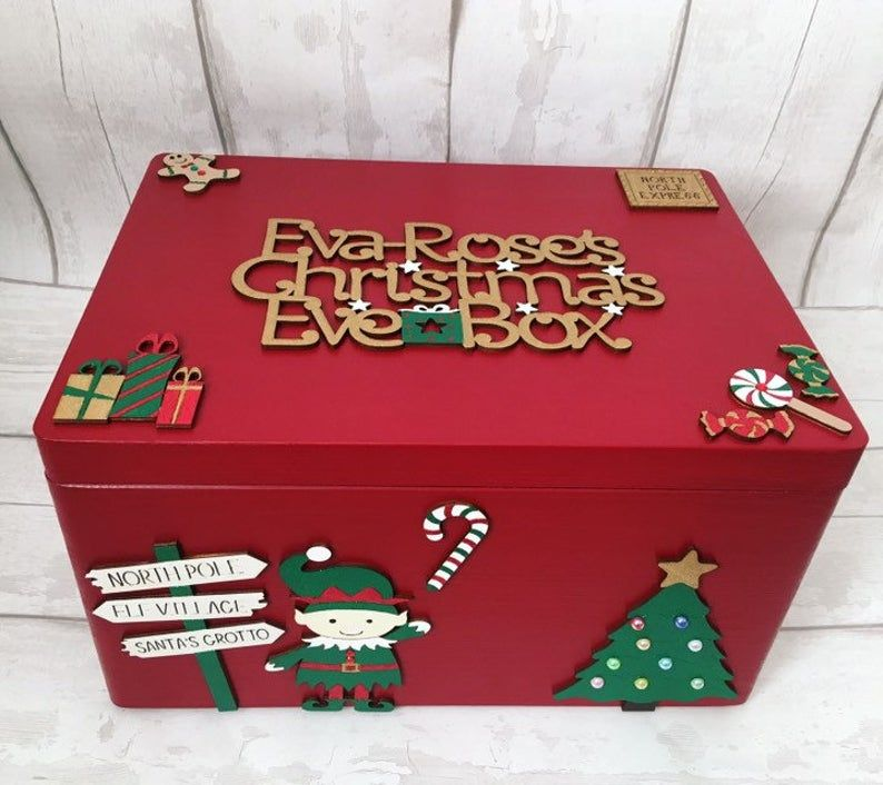 Gingerbread Man Personalised /'Christmas Eve Box/' Topper Sign Wood Craft Sign