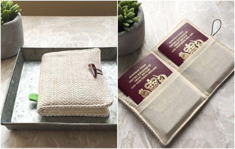 Personalised Herringbone Passport Wallet