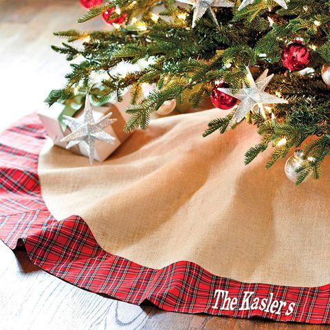 suzanne kasler burlap red plaid tree skirt - Burlap Christmas Tree Skirt
