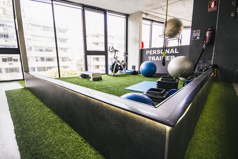 Grass, Architecture, Artificial turf, Ball, Interior design, Flooring, Building, Plant, House, Furniture,