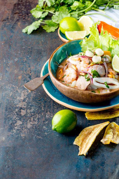 peruvian ceviche sebiche peruvian seafood and fish sebiche with maize