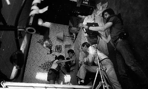 imagen del rodaje de pesadilla en elm street en la sala giratoria