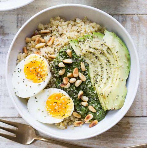 quinoa pesto breakfast bowl