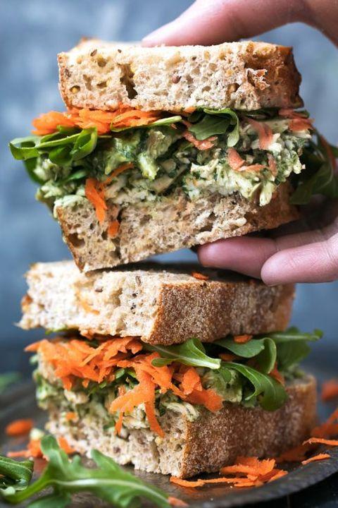 Pumpkin Seed & Avocado Pesto Chicken Salad Sandwiches