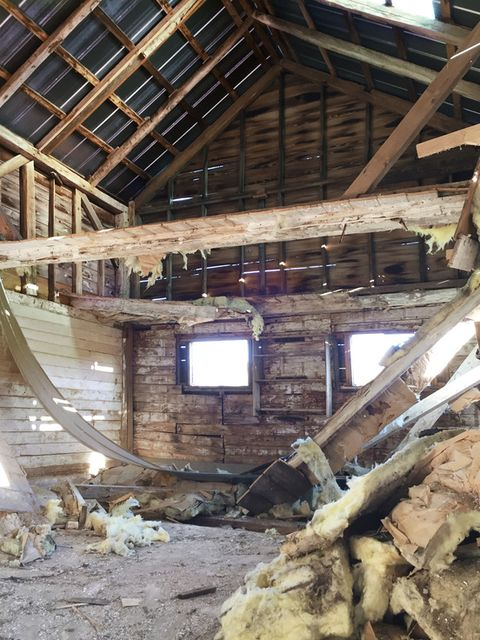 insulation from an old barn covers the floor of the interior