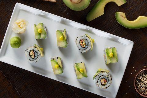 Food, Dish, Cuisine, Comfort food, Ingredient, Sushi, Avocado, Side dish, À la carte food, Produce,