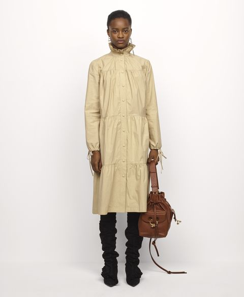 Clothing, Brown, Sleeve, Human body, Bag, Shoulder, Textile, Joint, Outerwear, Khaki,