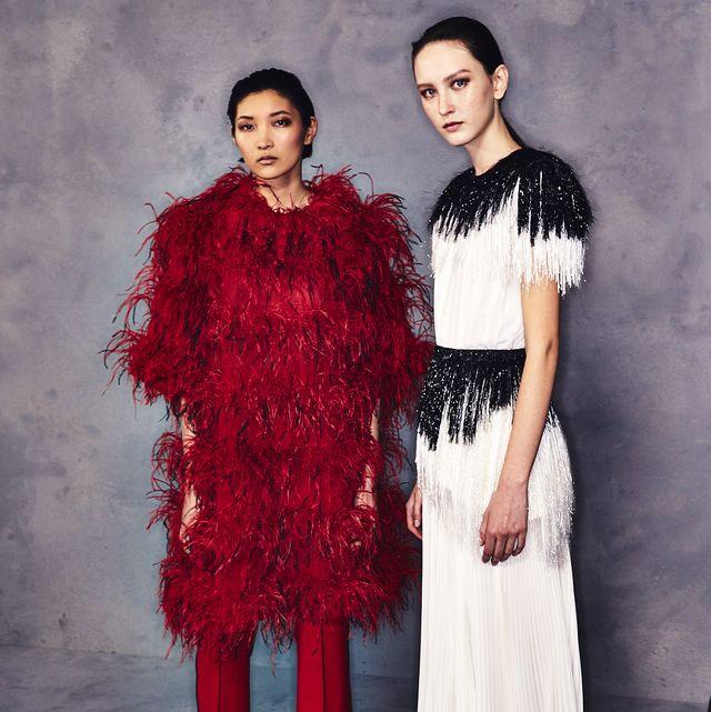 Clothing, Fashion, Red, Fashion design, Fashion model, Dress, Haute couture, Formal wear, Fur, Outerwear,