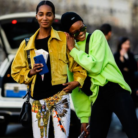 Street fashion, People, Yellow, Fashion, Human, Footwear, Jeans, Street, Smile, Photography,