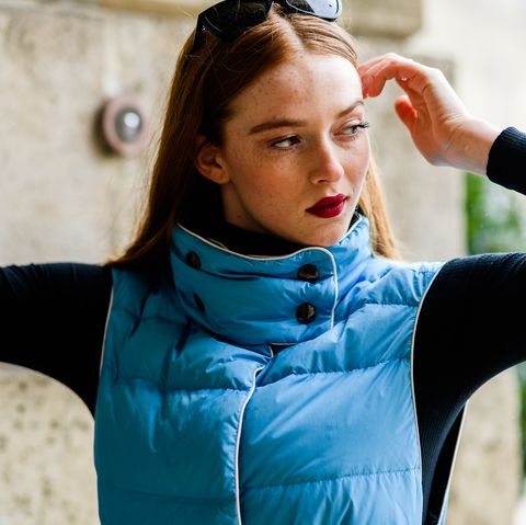 Blue, Beauty, Shoulder, Turquoise, Arm, Fashion, Neck, Outerwear, Eye, Electric blue,