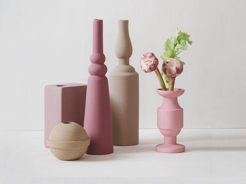Vase, Pink, Ceramic, Flowerpot, Still life photography, Artifact, Wood, Room, Still life, Plant,