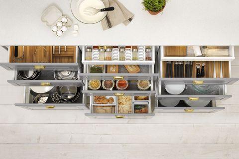 Six Zones Of Kitchen Organization, Kitchen Cupboard Interior Storage