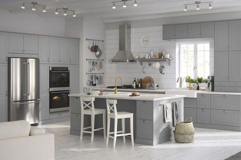 Furniture, Room, Cabinetry, Kitchen, Countertop, Property, Interior design, Building, Table, Floor,