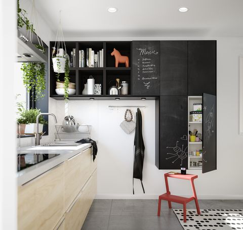 Room, Interior design, Furniture, Black-and-white, Property, Wall, Kitchen, Building, Countertop, Cabinetry,