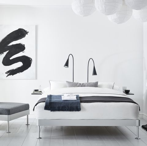 Wall, Room, Interior design, Black-and-white, Furniture, Wall sticker, Bedroom, Wallpaper, Design, Table,