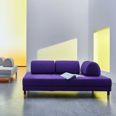 Furniture, Couch, Purple, Sofa bed, Room, Violet, Living room, Interior design, studio couch, Yellow,