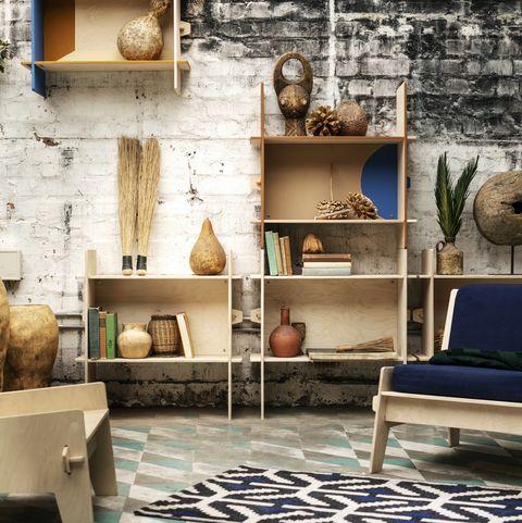 Interior design, Wall, Floor, Shelving, Flooring, Shelf, Interior design, Still life photography, Tile, Tile flooring,
