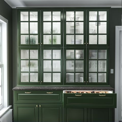 Furniture, Room, Window, Cabinetry, Architecture, Hutch, Glass, Building, Door, Molding,