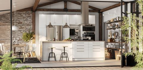 Furniture, White, Room, Countertop, Ceiling, Kitchen, Interior design, Cabinetry, Property, Building,