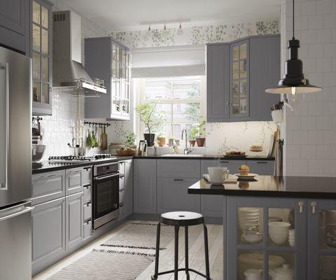 gray upper cabinets