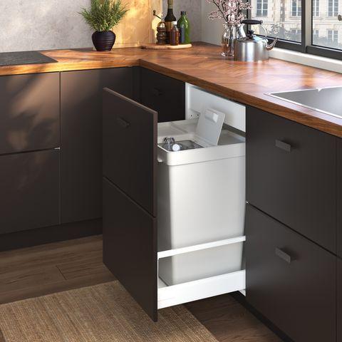 black cabinet undersink storage
