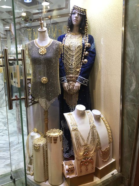 Fashion, Metal, Display window, Dress, Armour, Gold,