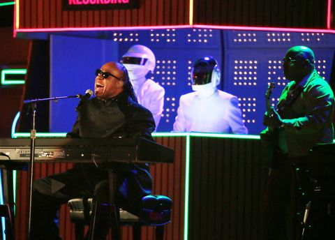 pharrell williams, daft punk, and stevie wonder perform at the 56th annual grammyr awards at stap