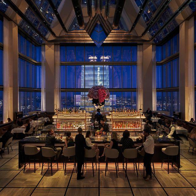 Room, Architecture, Interior design, Furniture, Restaurant, Building, Table, Ceiling, Window, Chair,