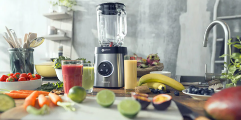 Blender, Juicer, Kitchen appliance, Small appliance, Food processor, Mixer, Home appliance, Vegetable juice, Product, Food,