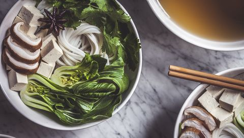 Pho Soup Bowls Being Prepared