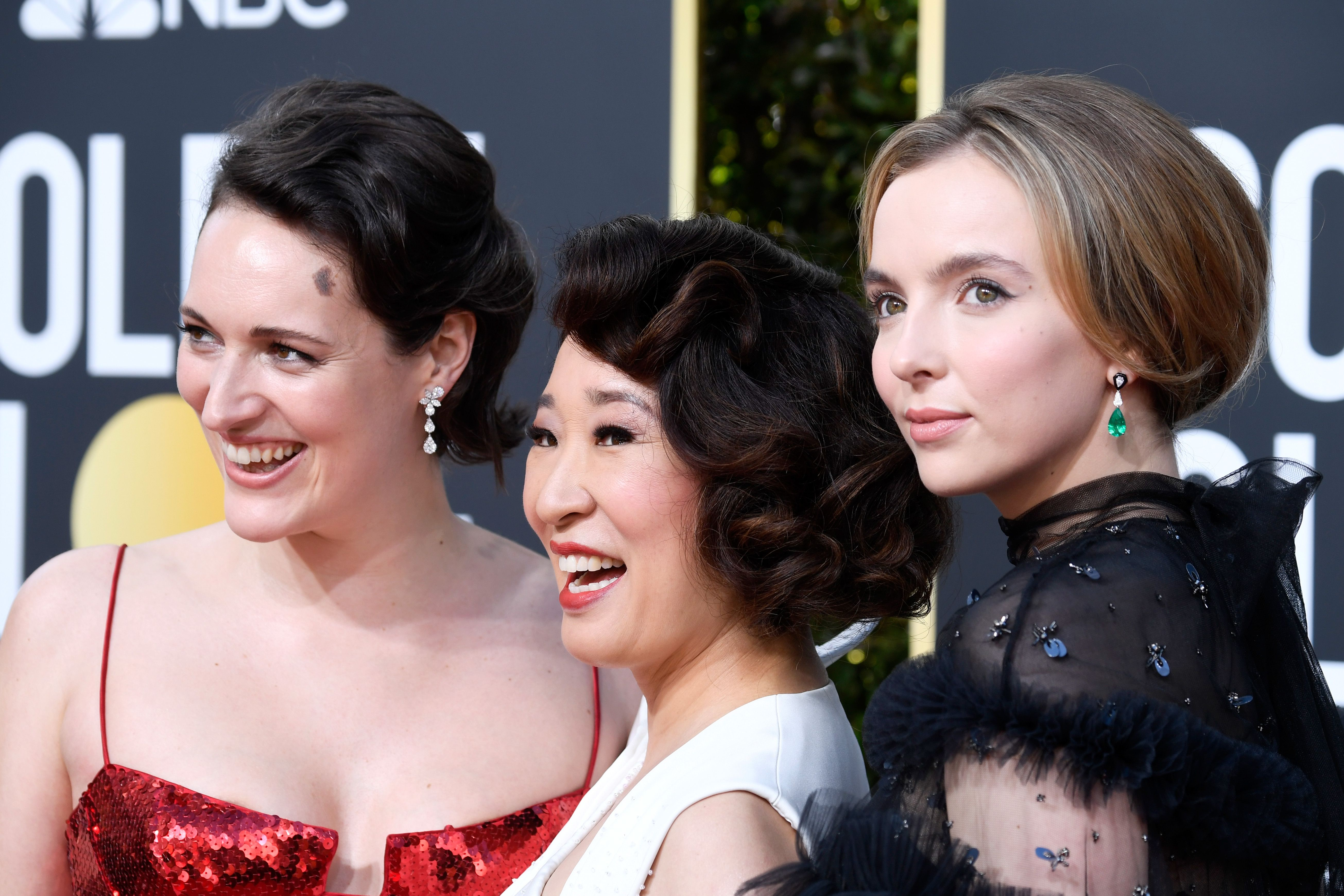 Killing Eve creator and writer Phoebe Waller-Bridge attended the 2019 Golden Globes with the show's stars Sandra Oh and Jodie Comer.