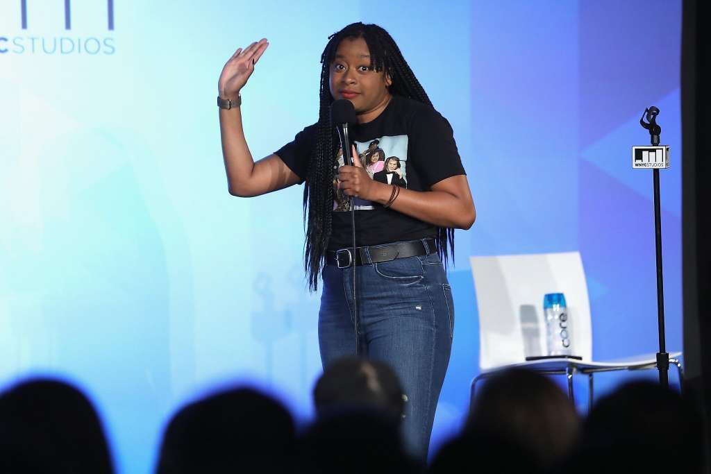 Phoebe Robinson speaks onstage during 2 Dope Queens sponsored by WNYC during the 2017 Vulture Festival at Milk Studios on May 20, 2017 in New York City.