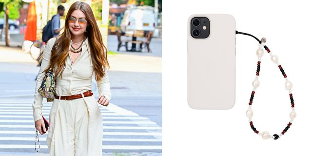 gigi hadid carries a phone strap from string ting in new york city, next to a close up of the phone strap
