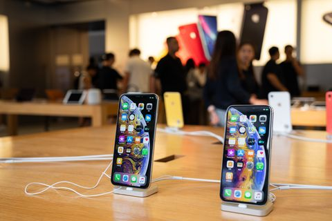I Phone XS and iPhone XS Max displayed in an Apple store in...