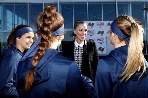 tampa, fl   february 28, 2020   ownerpresident tampa bay buccaneers foundation and glazer family foundation darcie glazer kassewitz speaks to athletes as they compete on day 3 of the 2020 girls flag football preseason classic at adventhealth training center photo by matttampa bay buccaneers