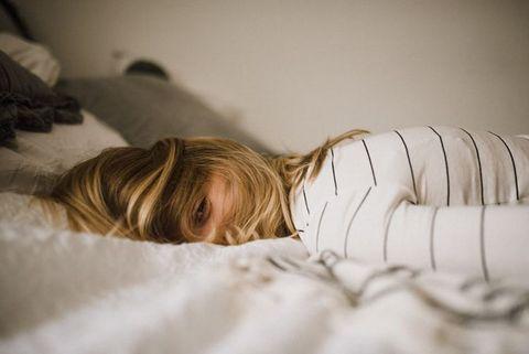 Bed, Comfort, Skin, Bedtime, Bed sheet, Child, Sleep, Blond, Nap, Bedding,