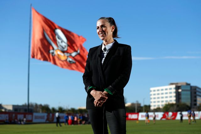 tampa, fl   february 28, 2020   ownerpresident tampa bay buccaneers foundation and glazer family foundation darcie glazer kassewitz speaks to athletes as they compete on day 3 of the 2020 girls flag football preseason classic at adventhealth training center photo bytampa bay buccaneers