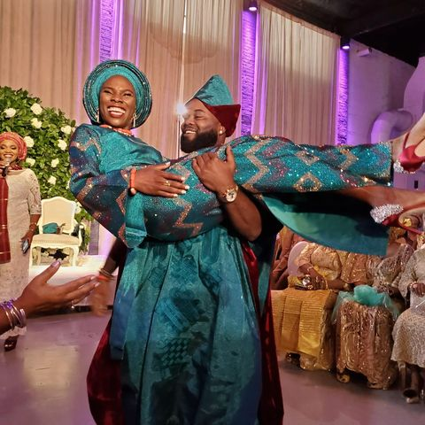 luvvie and her husband at their twopart wedding day in 2019 with the 1st part  including nigerian customs and the 2nd  western