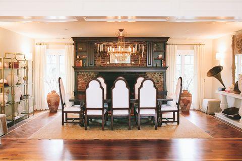Room, Property, Building, Interior design, Furniture, Dining room, House, Floor, Fireplace, Living room,